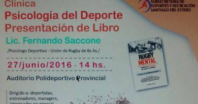 El lunes 27 se dictará la clínica de  Psicología del Deporte en el Polideportivo